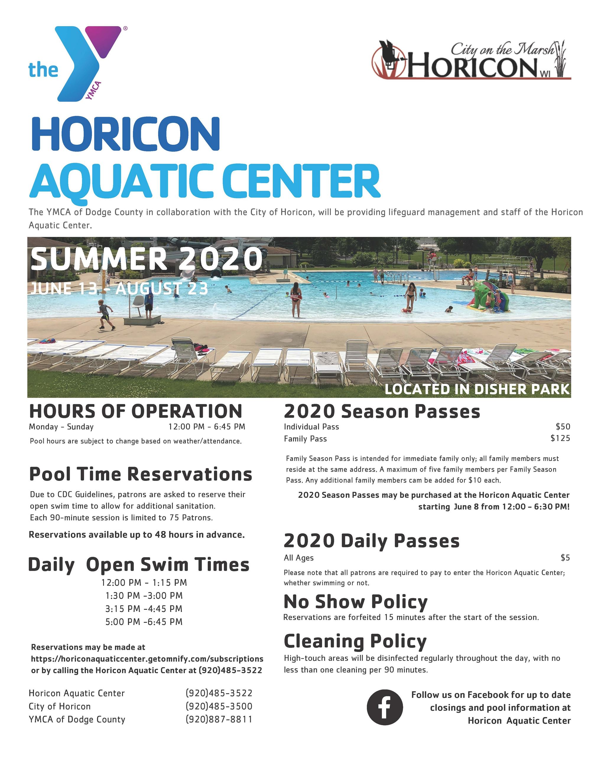 2020 Horicon Aquatic Center Flyer